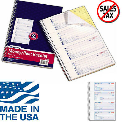 - Adams Money and Rent Receipt Book Record Cash Check Payments 2-Part Carbonless