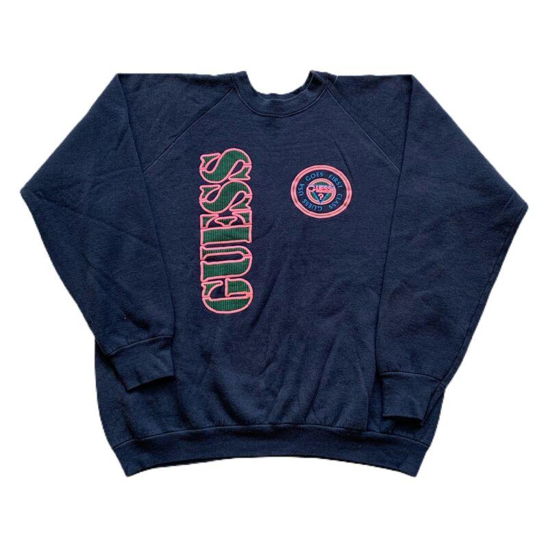 VTG 80s Guess Jeans Puffy Blue Spell Out Raglan USA Made 50/50 Sweatshirt Men XL
