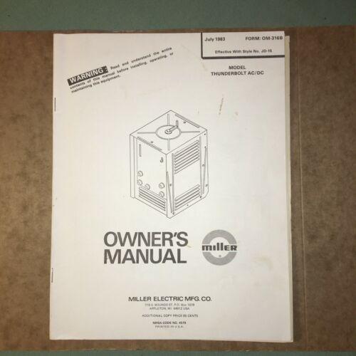 Miller Electric Welder~Thunderbolt AC/DC~JD-15~Operators Manual~Original