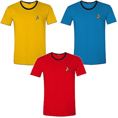 Crew Uniform T-Shirt Männer Men Fasching Kostüm Halloween (Star Trek Uniform)