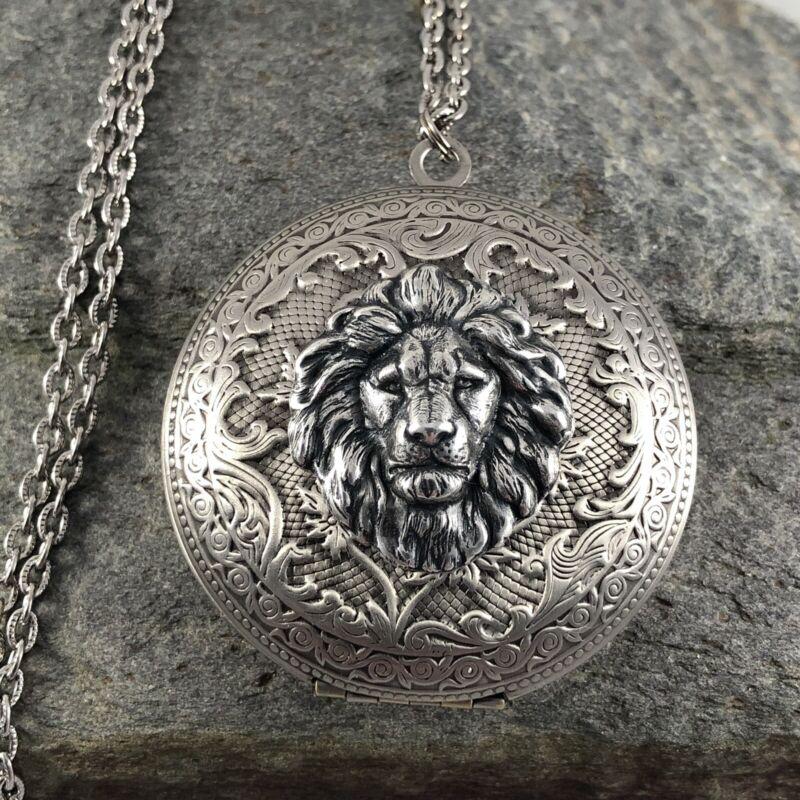 LION HEAD Vtg Large Locket Necklace Antique Silver plt King Cat Royalty, Quality