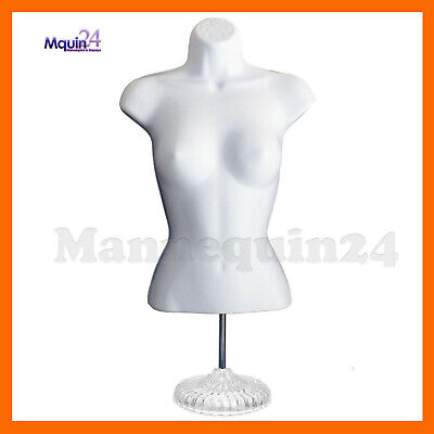 Female Torso Mannequin Dress Body Form White W Stand Hooks For Hanging