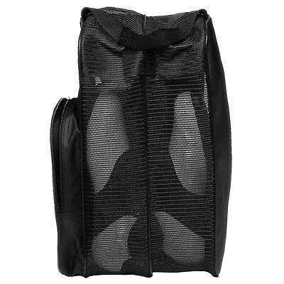 Deluxe Mesh Tote Bag - Black Deluxe Shoe Tote Travel Bag w/ Mesh Panels & Handle by ProActive Sports