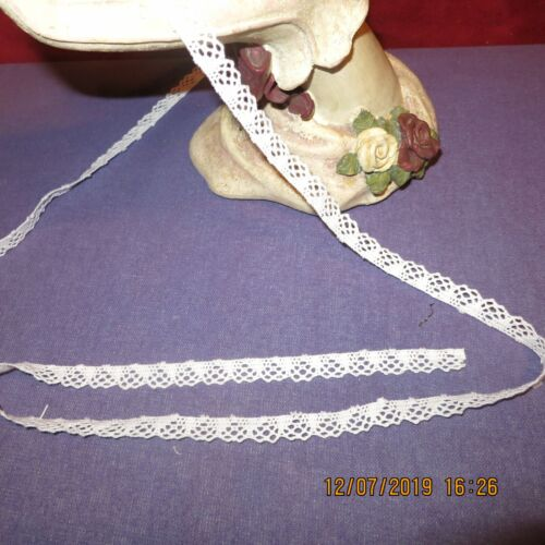 """Vgt  WHITE COTTON LACE TRIM 3/8"""" MINIATURE-HEIRLOOM DOLL SEWING   WOW  3 yds"""