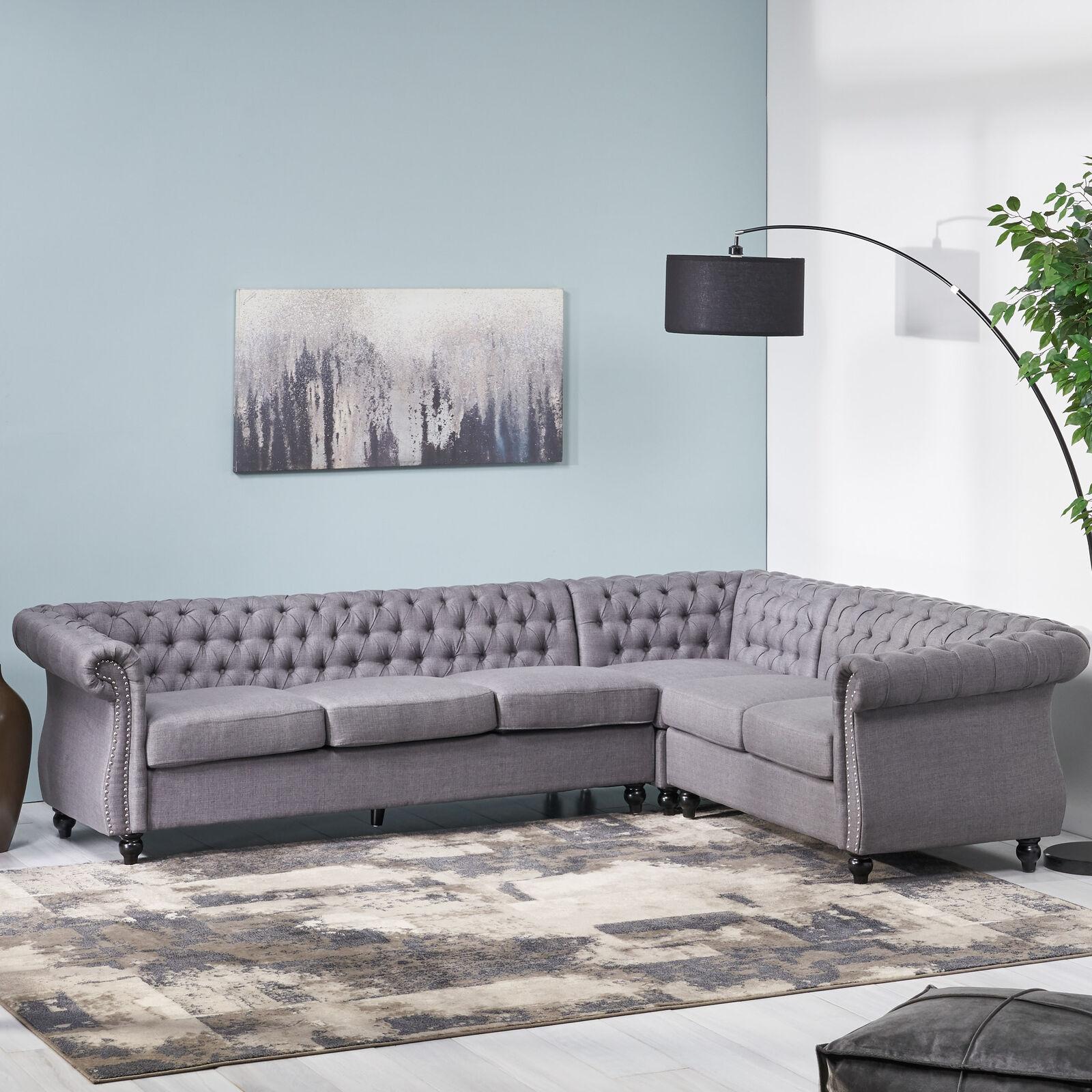 Amberside 6 Seater Velvet Tufted Chesterfield Sectional Furniture