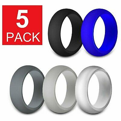 5-Pack Silicone Wedding Engagement Ring Men Women Rubber Band Gym Sport Flexible Bands without Stones