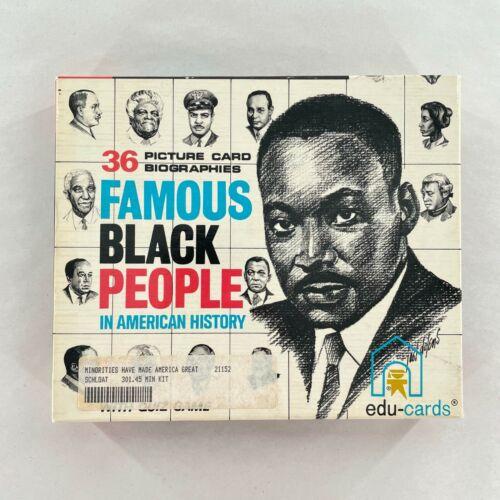 36 Famous Black People Picture Card Biographies Flash Quiz Edu-Cards 1970