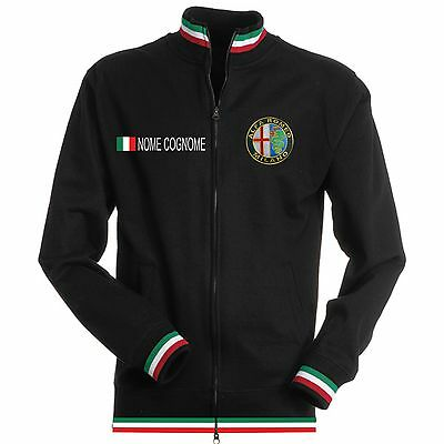 Band Sweatshirt (SWEATSHIRT TRICOLOR ALFA ROMEO SCHWARZ BLACK T-SHIRT POLO HALSBAND PATCH HEMD)