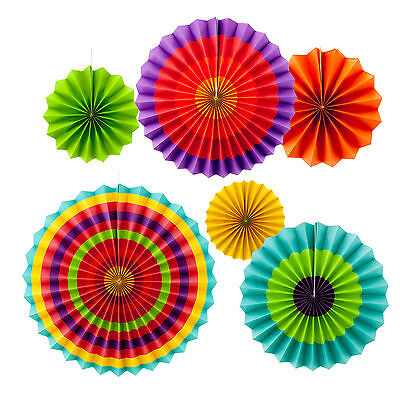 12pc Fiesta Colorful Paper Fans Mexican Independence Day Theme Party Decorations