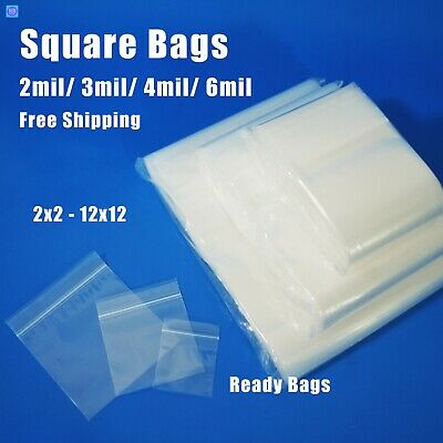 Assorted Clear Plastic Bags Square Zip Lock Reclosable Seal Zipper Top Baggies
