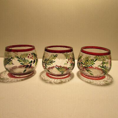 lot of 3 yankee candle holder crackled glass balsam