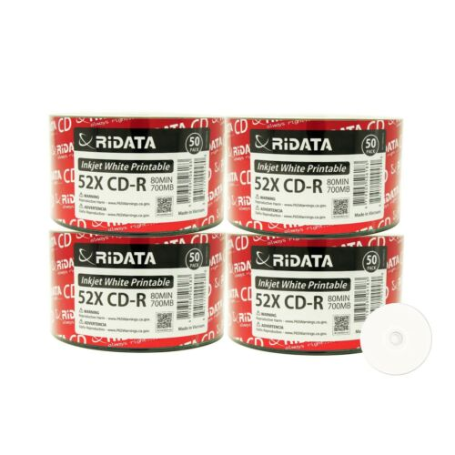 200 Ridata Cd-r 52x 700mb 80min White Inkjet Hub Printable Blank Recordable Disc