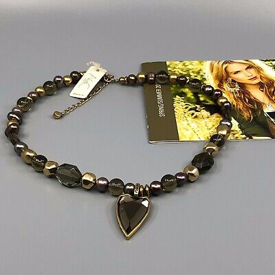 A&C Norway Faceted Hearts Necklace Beaded Single Strand w Tags Attached Facet Single Heart