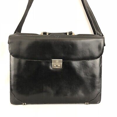 Mancini Leather Briefcase Satchel Attache Case Black Business HG279