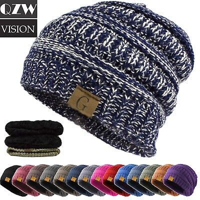 (Men Womens Beanie Knit Hat Winter Warm Thermal Fleece Cuff Cap Slouchy Skull Ski)