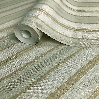 (Embossed modern Wallpaper green gold metallic stripes stria lines textured rolls)