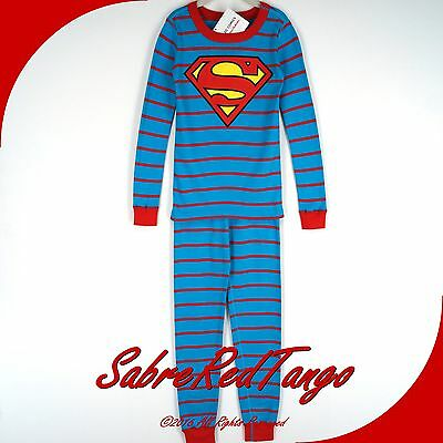 NWT HANNA ANDERSSON ORGANIC LONG JOHNS PAJAMAS DC COMICS SUPERMAN 140 10