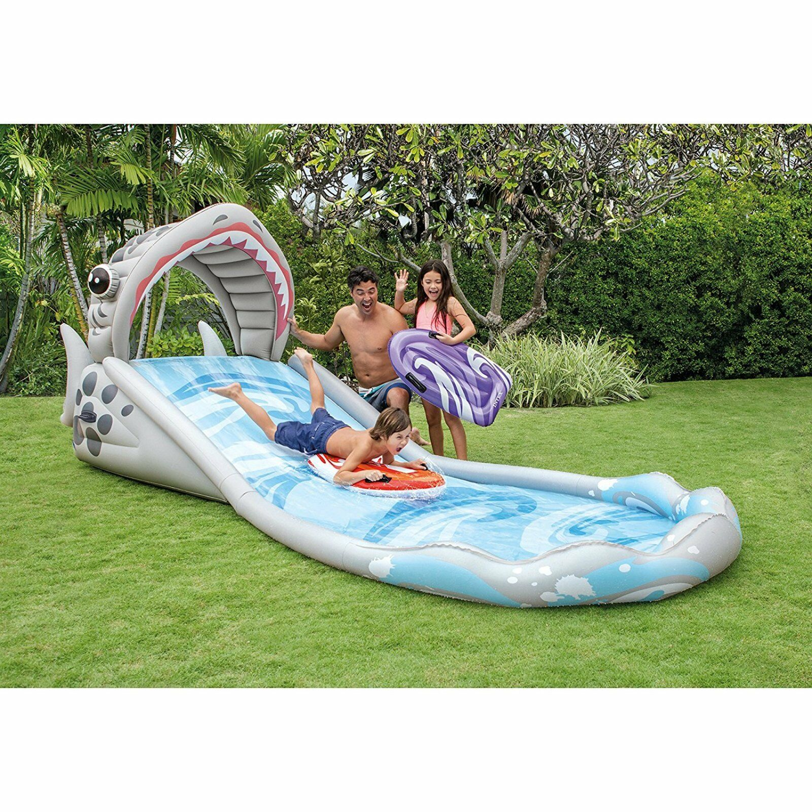 Outdoor Water Slide Inflatable Pool Toys Shark Design Pool ...