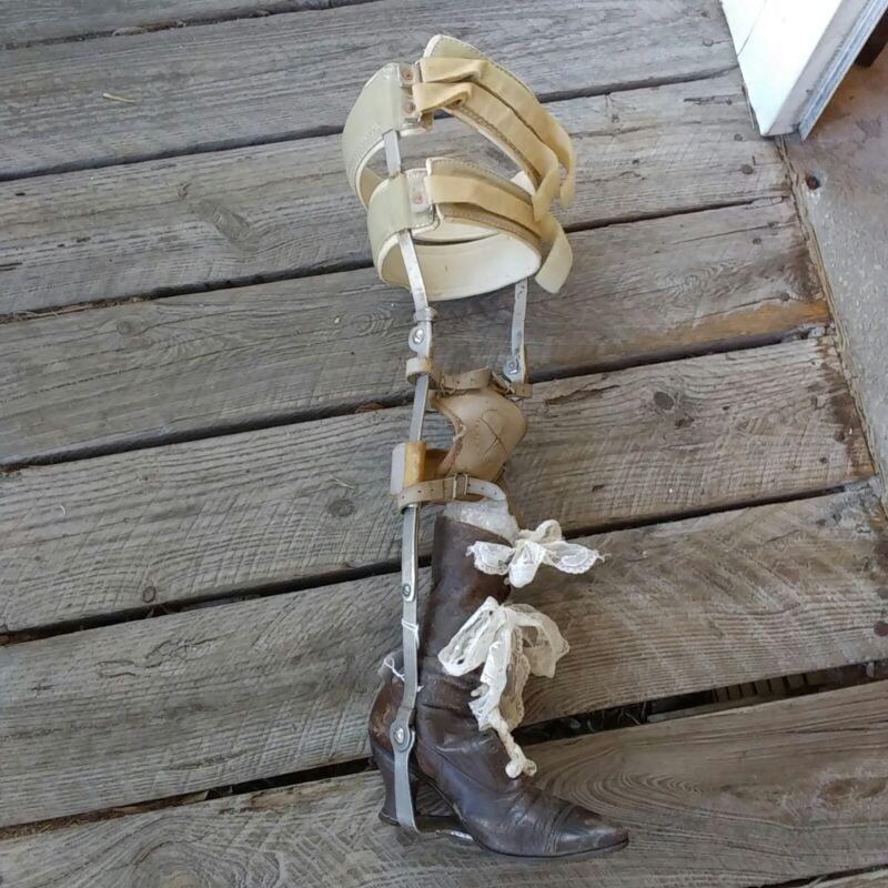 Antique Full Leg Brace W/ Shoe Steampunk Cosplay