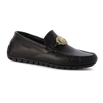 Men's Versace Shoes Black Leather Loafers Size UK 10 EU 44 Brand New RRP £395