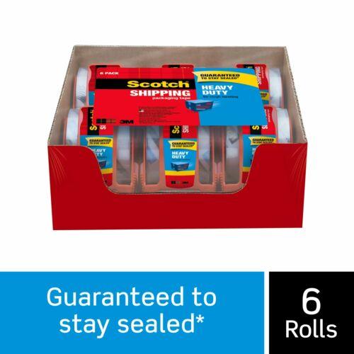 "3M Scotch Clear Shipping Packing Tape 2x1000"" 6 Rolls w/Dispenser Heavy Duty"