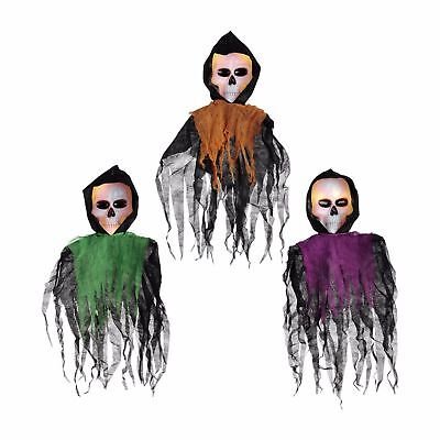 NEW Halloween 3 Piece Lighted Hanging Ghouls 12 Clear Mini Lights Black - Halloween Hanging Ghouls