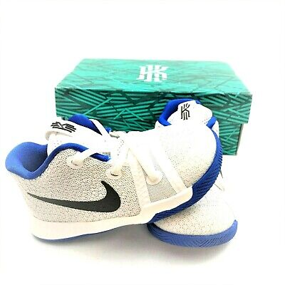 Nike Toddler Boys Size 7C KYRIE 3 White Black Blue Low Top Basketball Shoes