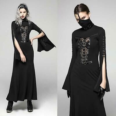 PUNK RAVE Aeon Dress Cyber Gothic Kleid Lang Schwarz mit Lack Schnürung + Maske Maske, Kleid