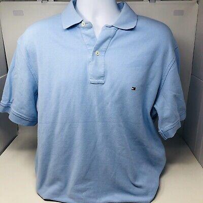 Tommy Hilfiger Men's Size Large Blue Polo Shirt W/ Colored Flag Stitch Logo