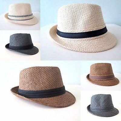New Unisex Men Women Fedora Short Brim Tribly Black Beige Brown Straw Hat Cap  (Black Fedoras)