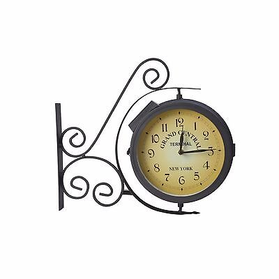 Moonrays Outdoor Home Solar Power LED Wall Mounted Clock Metal Black-Thermometer