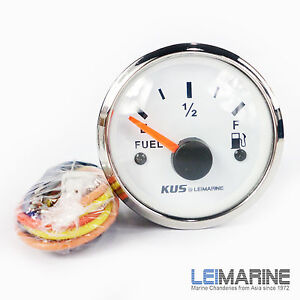 KUS Boat Analog Fuel Tank Level Gauge Indicator Dia 52mm Stainless Steel White