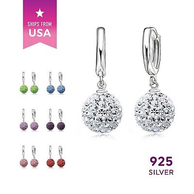 925 Sterling Silver Color Crystal Rhinestone Earrings Disco Ball Ear Ring 1 pair (Colored Disco Ball)