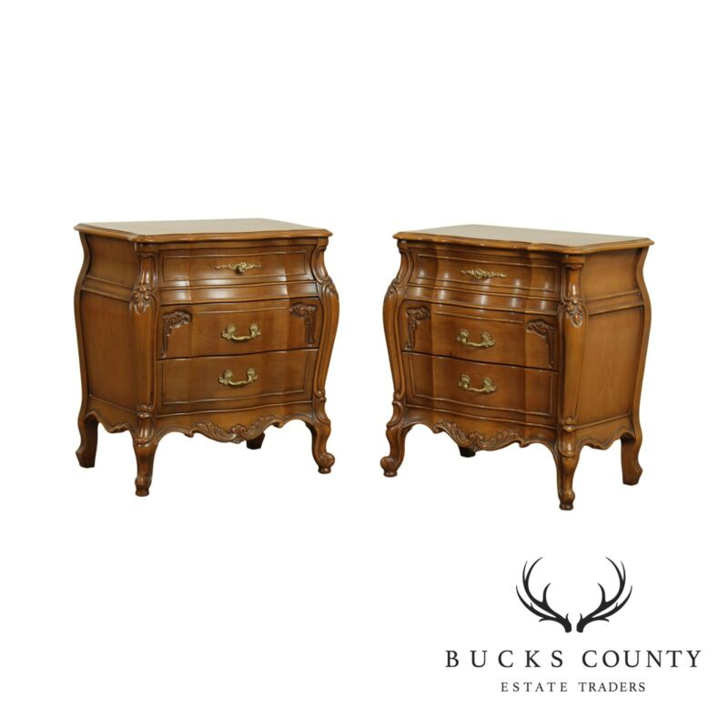 French Louis XV Style Vintage Pair Bombe Chest Nightstands