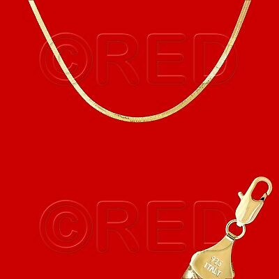GOLD over SILVER QUALITY MADE in ITALY 3mm HERRINGBONE CHAIN 18