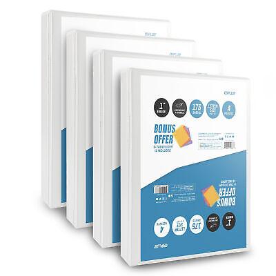 Os Plus 1 Inch O-ring Simple View Binder White 4 Pack Bonus 1 Set Divider