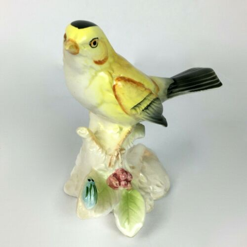 Vintage Porcelain Goldfinch Sculpture Figurine Collectible