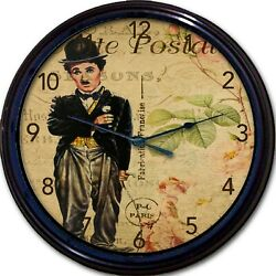 Charlie Chaplin Carte Postal Paris France Post Card Wall Clock Cabaret French