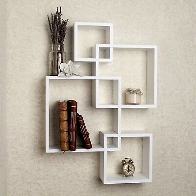 Wall Mount Floating Cube Shelves Intersecting Modern Home Decorative Shelf White ()