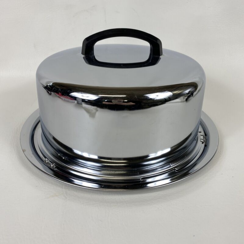 Vintage The Everedy Co Frederick MD USA Chrome Cake Carrier With Locking Lid