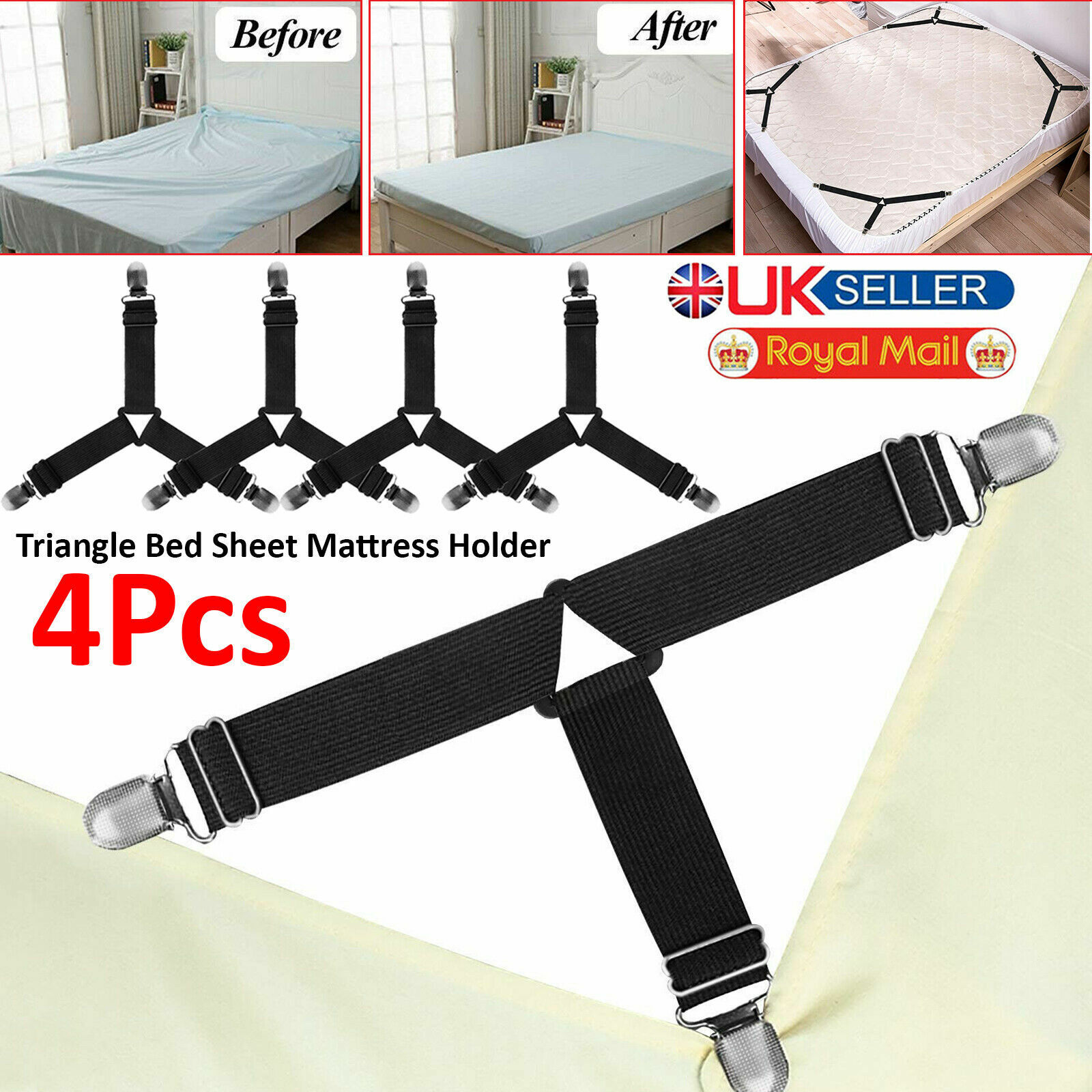 4X Bed Sheet Straps Grippers Fasteners Elastic Suspenders Clip-on Holders Tools