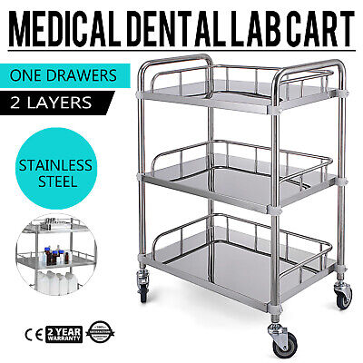 3-layer Stainless Steel Lab Medical Equipment Cart Easy Assemble Wipe-clean