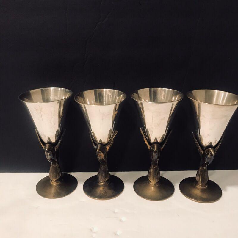 Vtg Chalice Goblet Silver Plate Brass Bird Dove Set Of 4 Godlinger