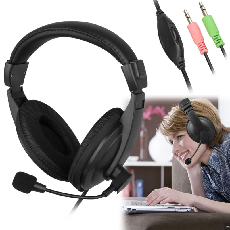 Wired Handsfree Earphone Headphones Headset With Mic For PC Computer Notebook US
