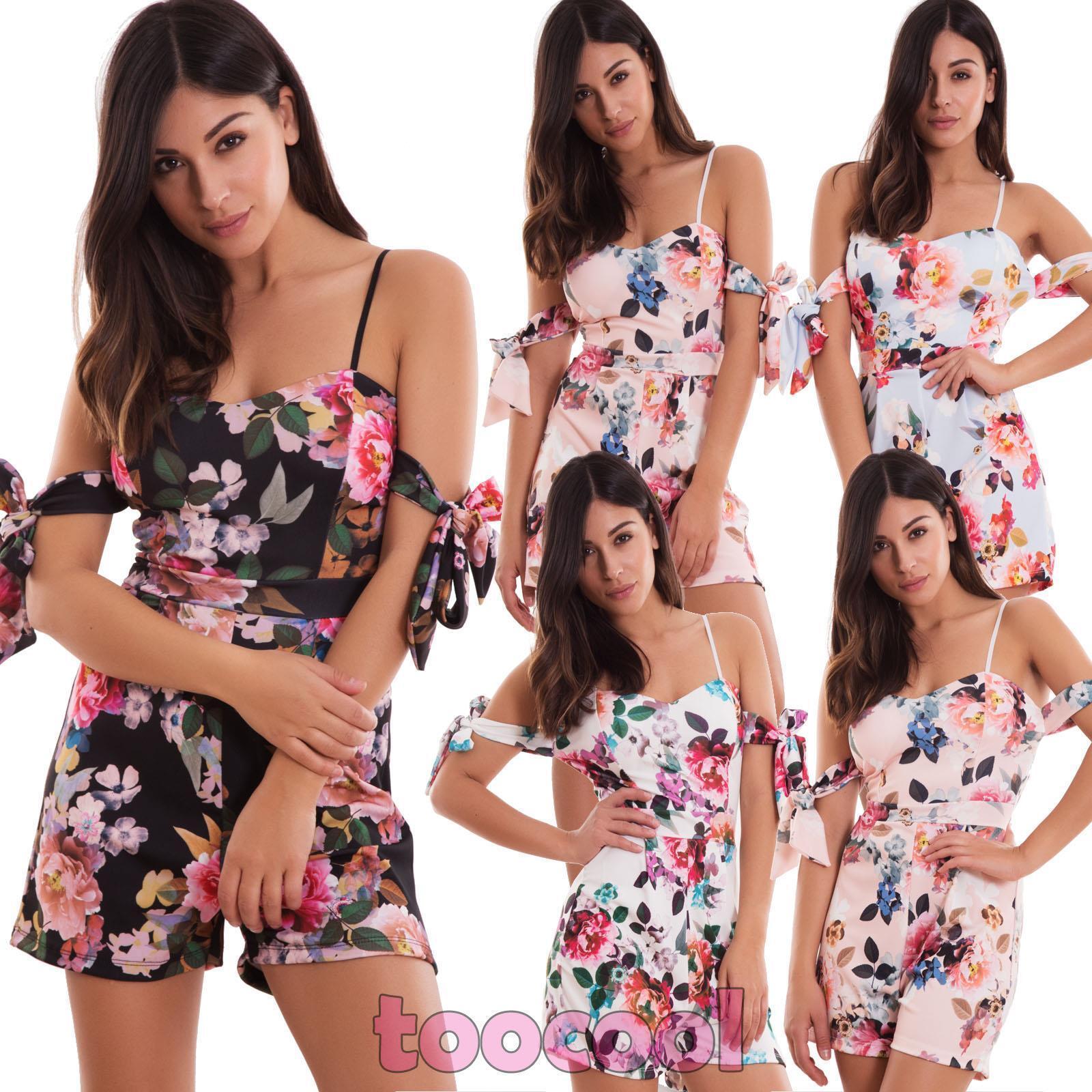95abec1efba3 Detalles de Total Mujer Pelele Todo Pantalones Cortos Shorts Flores Escamas  Sexy Nueva