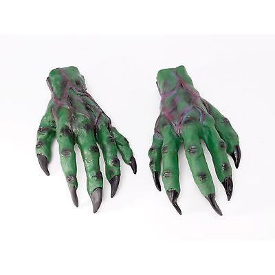 Halloween Monster Hands (HALLOWEEN GREEN HORROR HANDS MONSTER CLAWS GLOVES Mens Fancy)