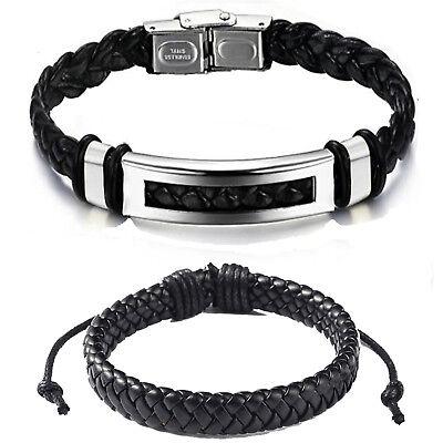 2 Armband Echt Leder für Damen Männer Herren geflochten schwarz Edelstahl silber
