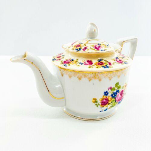 Goldcastle Teapot Porcelain Floral Rose Pink Blue Gold Leaf Lidded Made In Japan
