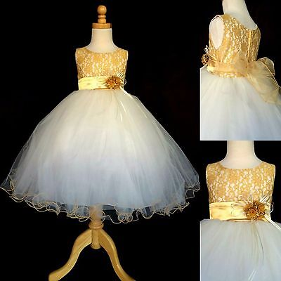Gold LACE Ivory Tulle Dress Flower Girl Wedding Pageant Christmas Toddler #15 - Gold Christmas Dresses
