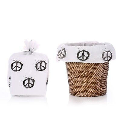 Reusable Peace Sign Plastic Gift Wrap Bags W/Silver Twist Ties - 4 PK - 17